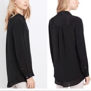 VINCE 100% Silk Black Layered Blouse Size 6